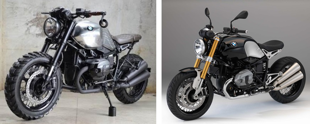 Foto: Motonline. Antes e depois da BMW R nineT